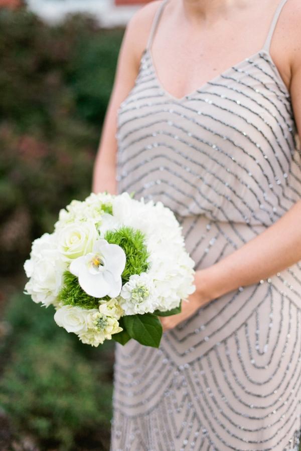 Taupe Beaded Bridesmaids Dress