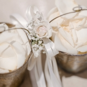 Vintage Silver Baskets With Rose Petals