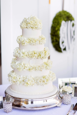 Wedding Cake With Hydrangea Blooms
