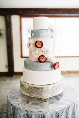 Whimsical Silver and Pink Wedding Cake