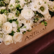 White Bouquets in Wood Crate