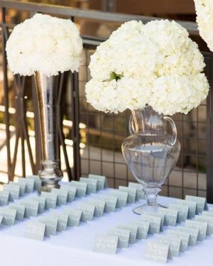 White Hydrangea Arrangements Wedding Decor