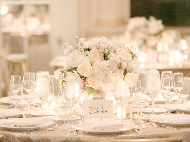 White Table Setting Reception Ideas