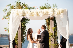 White and Green Wedding Arbor