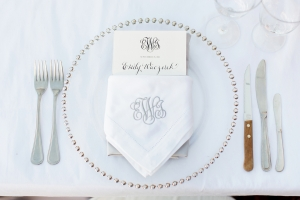 White and Silver Place Setting
