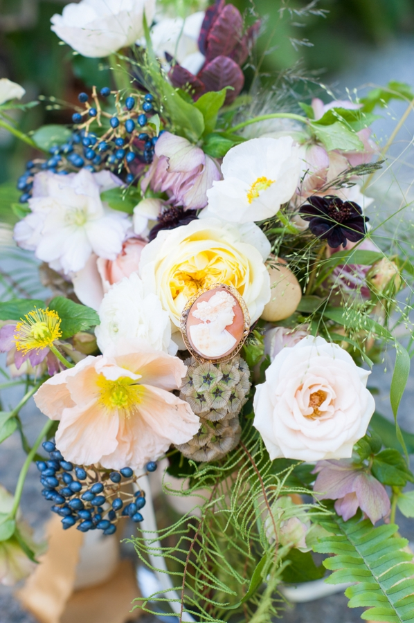 Wildflower Bouquet With Cameo Pin