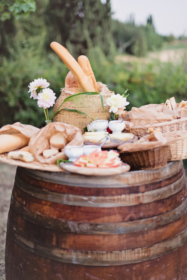 Appetizers on Wine Barrel Tuscany Wedding