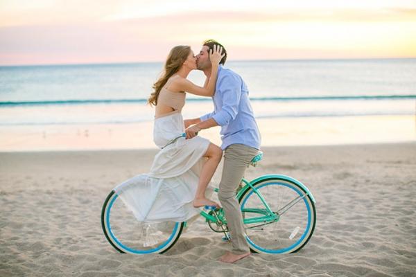 Beach Kiss on Bike