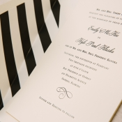 Black and White Striped Wedding Invitation