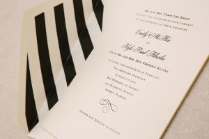 Black and White Striped Wedding Invitation