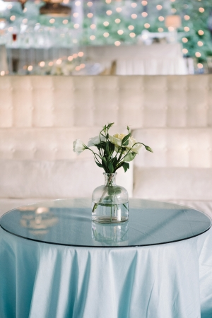 Blue Linens on Cocktail Table