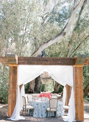 Blue and Coral Wedding Table