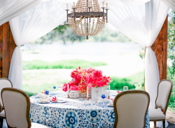 Bohemian Modern Pink Blue Table