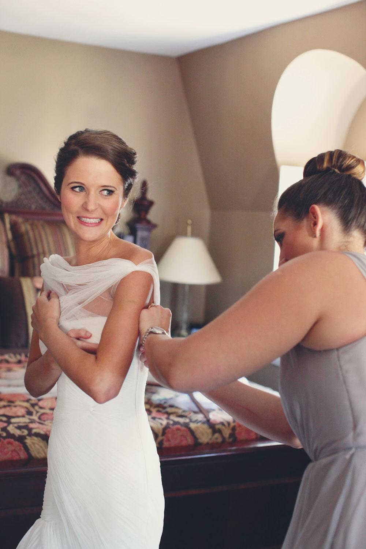 Bride Getting Dressed Before Ceremony Elizabeth Anne Designs