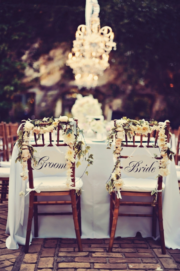 Bride and Groom Chair Swag