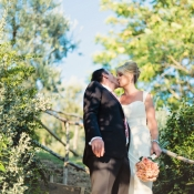 Bride and Groom Kissing in Italian Countryside