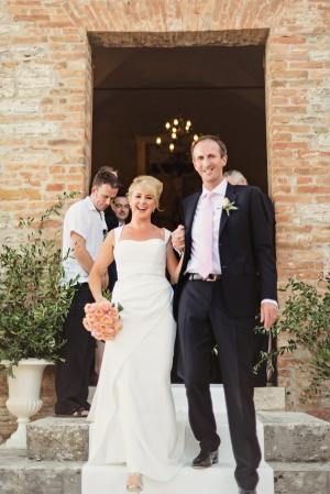 Bride and Groom Leaving Italian Church