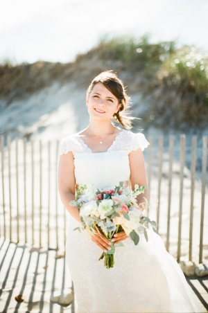 Bride on the Beach in Rhode Island