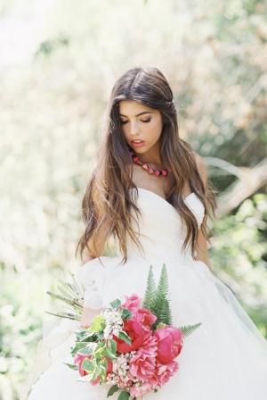 Bride with Fuchsia Bouquet
