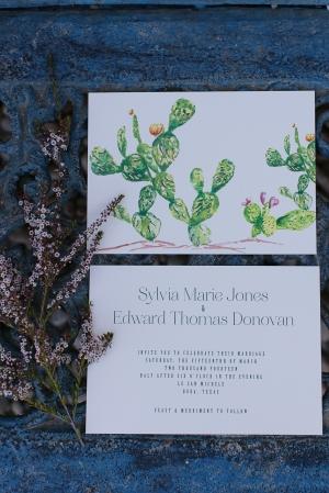 Cactus Watercolor Wedding Stationery
