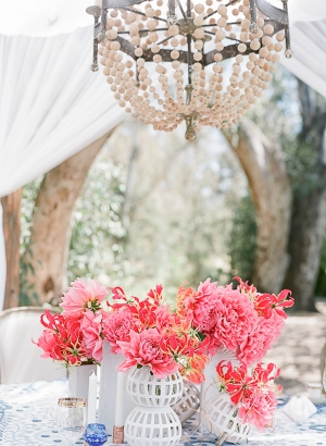 Coral Flowers in White Vases