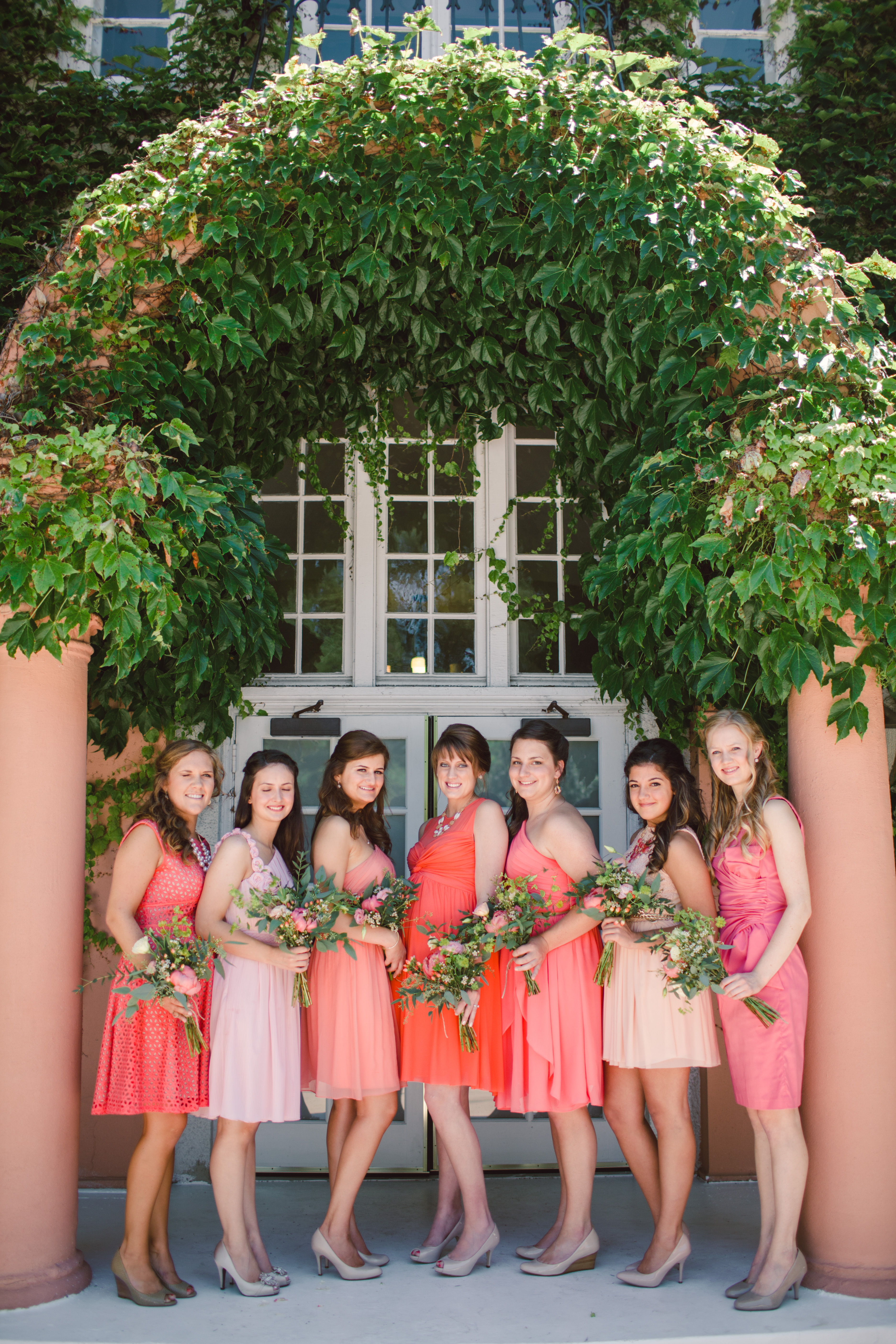 Coral Pink and Peach Bridesmaids Dresses