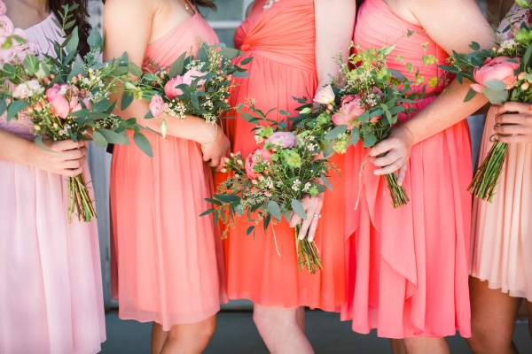 Coral and Pink Bridesmaids Dresses