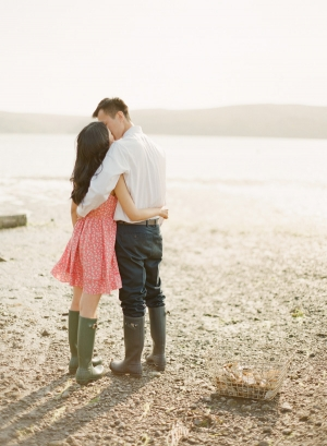 Couple Kissing Wearing Rain Boots