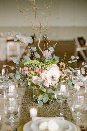 Curly Willow and Pink and Green Floral Centerpiece