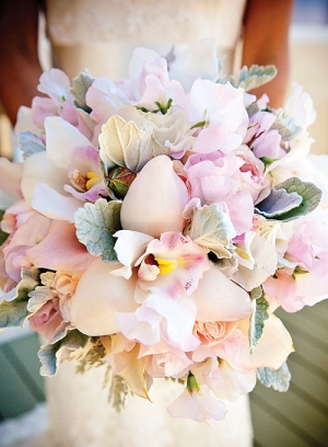 Dusty Miller and Orchid Bouquet by Nancy Liu Chin Designs