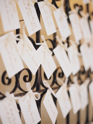 Escort Cards on Wrought Iron Gate