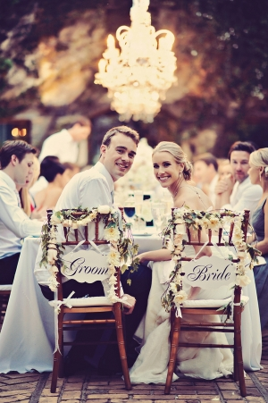 Floral Garland Bride and Groom Chair Signs