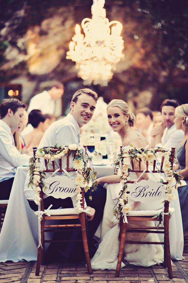 Floral Garland Bride And Groom Chair Signs Elizabeth