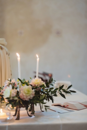 Floral and Candle Arrangements Italian Wedding