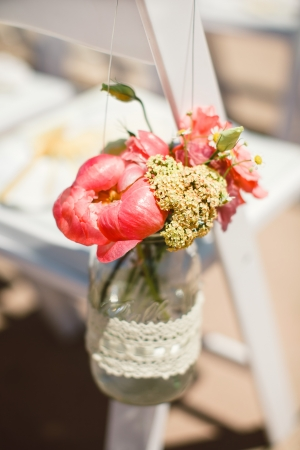 Flowers in Lace Wrapped Jar