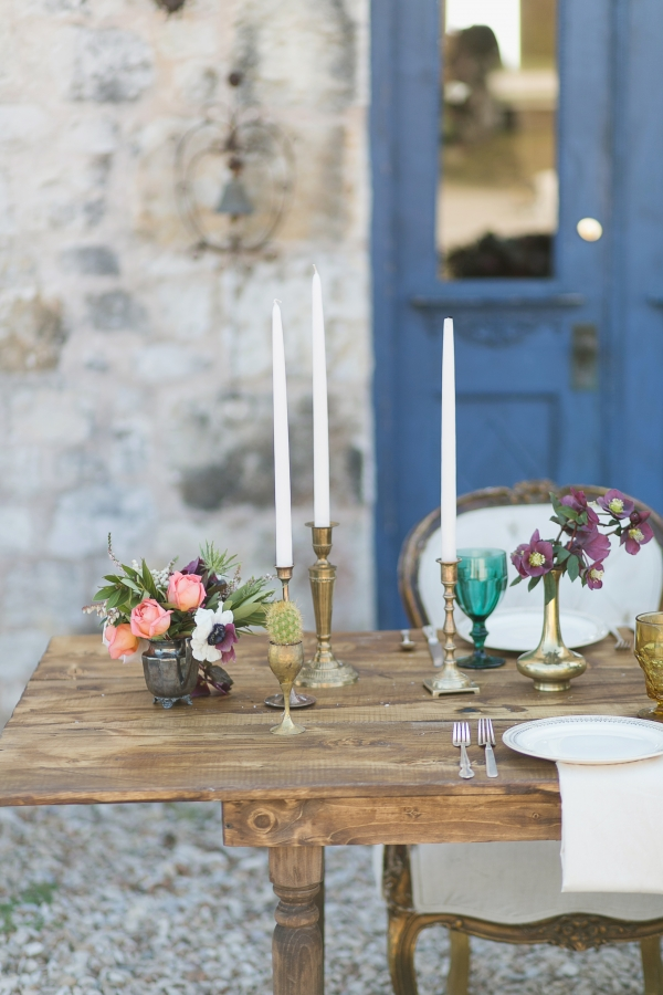 Gold Accents on Rustic Wood Table