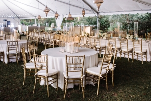 Gold Chiavari Chairs Outdoor Reception Seating