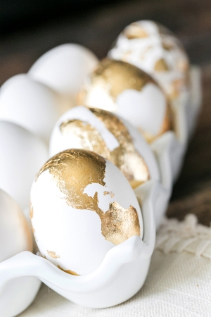 Gold Leaf Easter Eggs |  Sugar and Charm