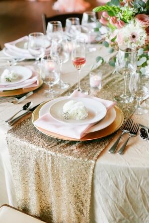 Gold Sequin Table Linen