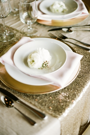Gold Sequin and Light Pink Table Linens