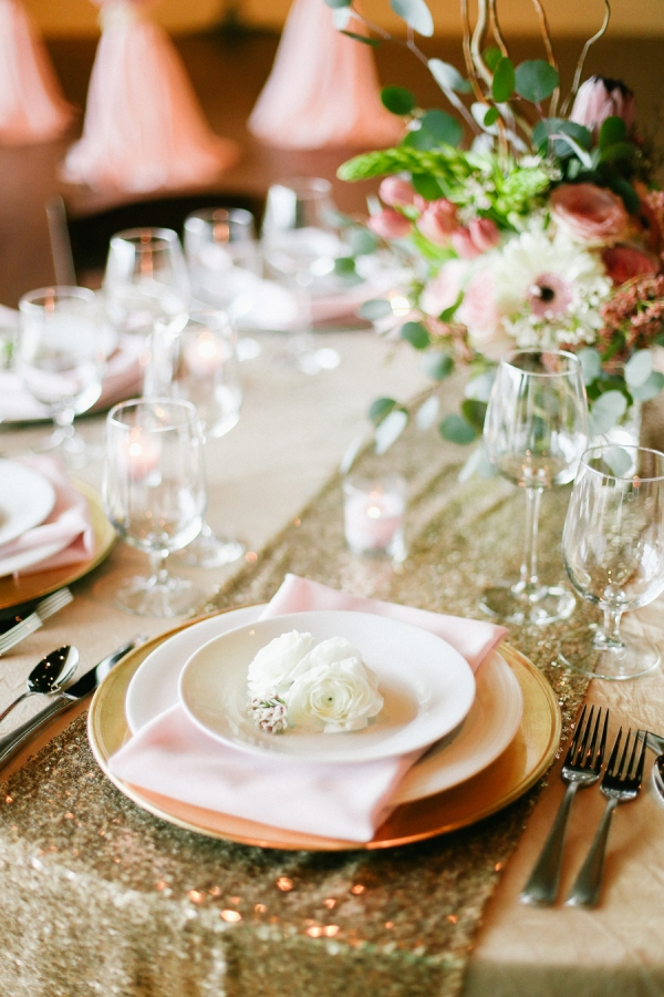 Gold and Pink Reception Table Decor