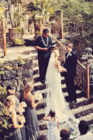 Gray and White Maui Wedding Ceremony