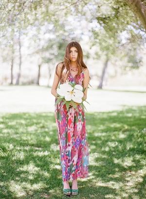 Hot Pink Patterned Bridesmaid Dress