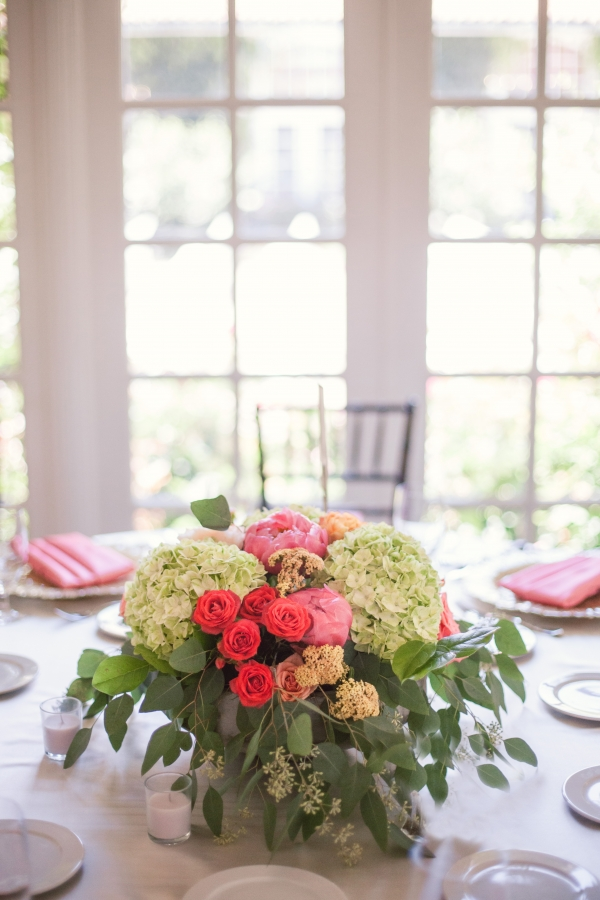 Hydrangea Rose and Greenery Centerpiece