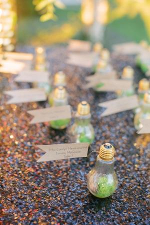 Lightbulb Place Cards Reception Ideas