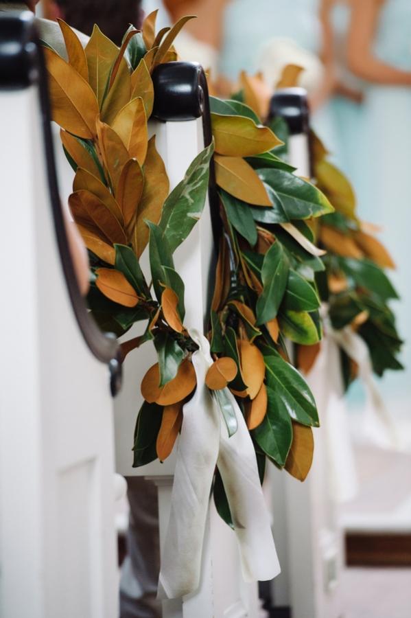 Magnolia Wreath Church Wedding Decor