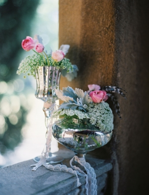 Mercury Glass Lace and Floral Wedding Decor