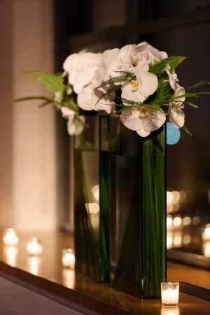 Orchids and Fern in Tall Vase