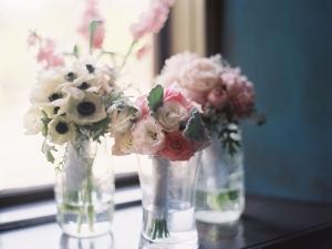 Pastel Spring Flowers in Glass Jars