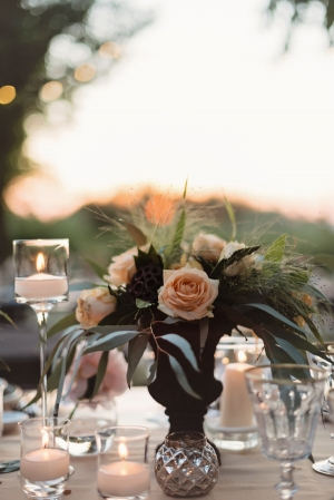 Peach Floral and Greenery Reception Centerpiece